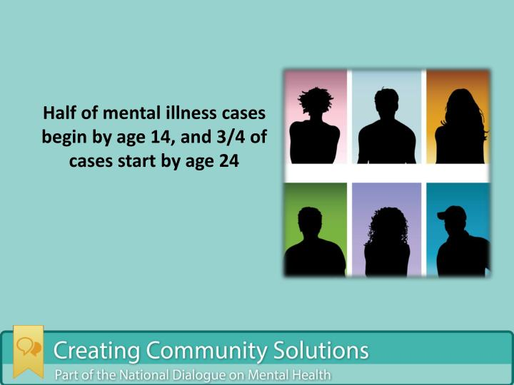 Half of mental illness cases begin by age 14, and 3/4 of cases start by age 24