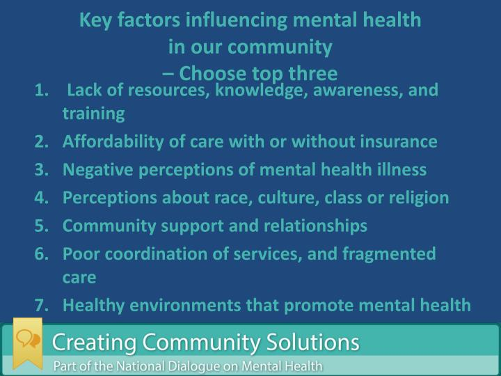Key factors influencing mental health
