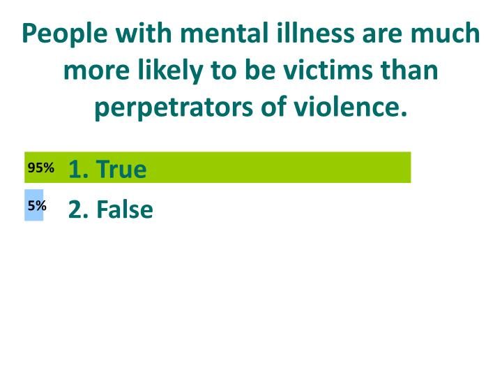 People with mental illness are much more likely to be victims than perpetrators of violence.