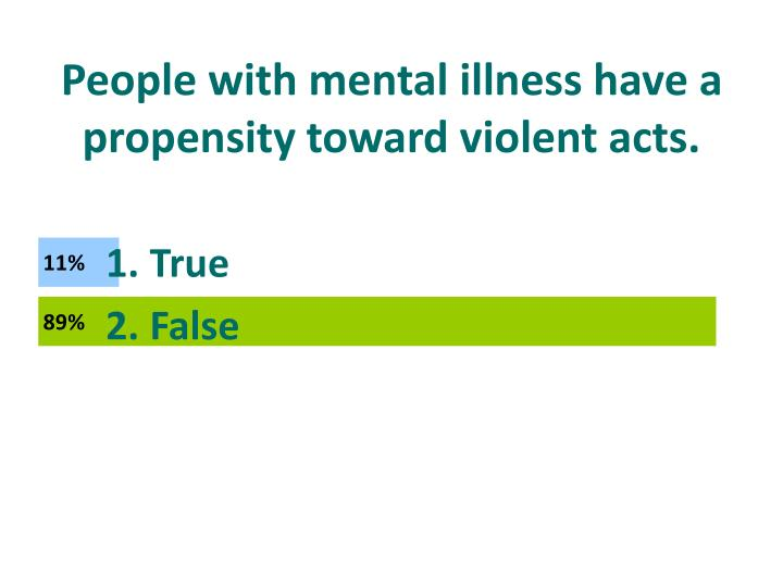 People with mental illness have a propensity toward violent acts.