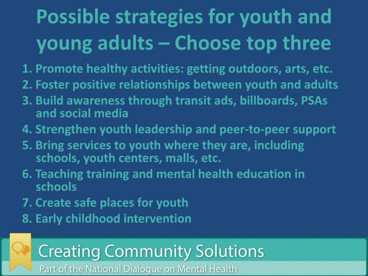 Possible strategies for youth and young adults – Choose top three