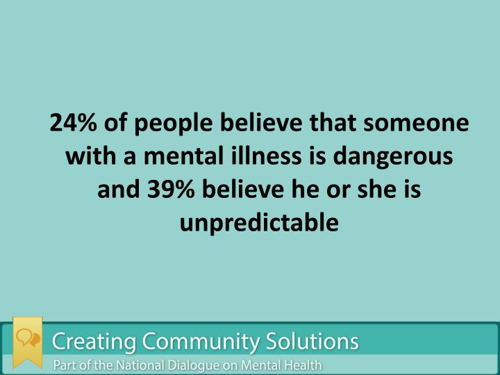 24% of people believe that someone with a mental illness is dangerous and 39% believe he or she is unpredictable