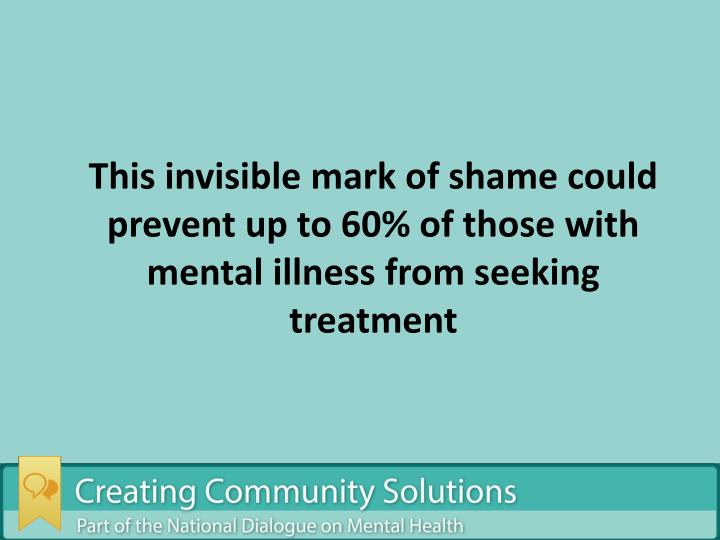This invisible mark of shame could prevent up to 60% of those with mental illness from seeking treatment