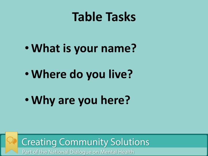 Table Tasks