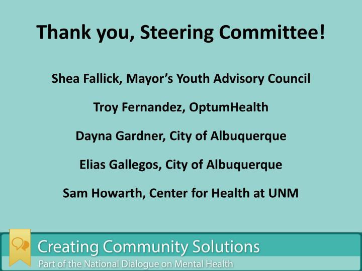 Thank you, Steering Committee!