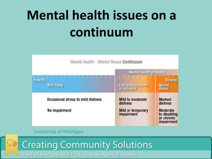 Mental health issues on a continuum