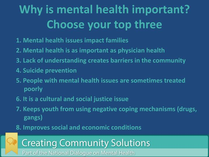 Why is mental health important? Choose your top three