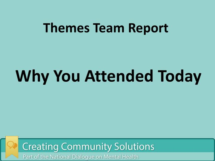 Themes Team Report