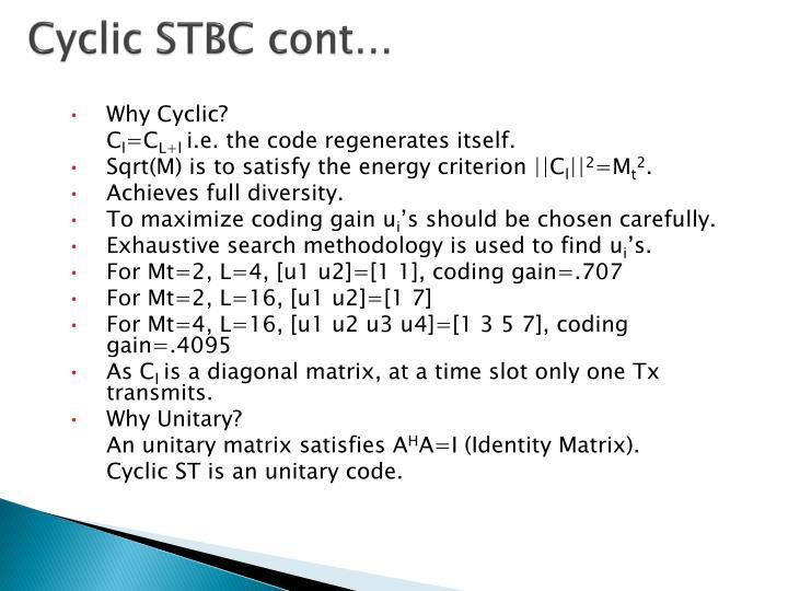Cyclic STBC cont…