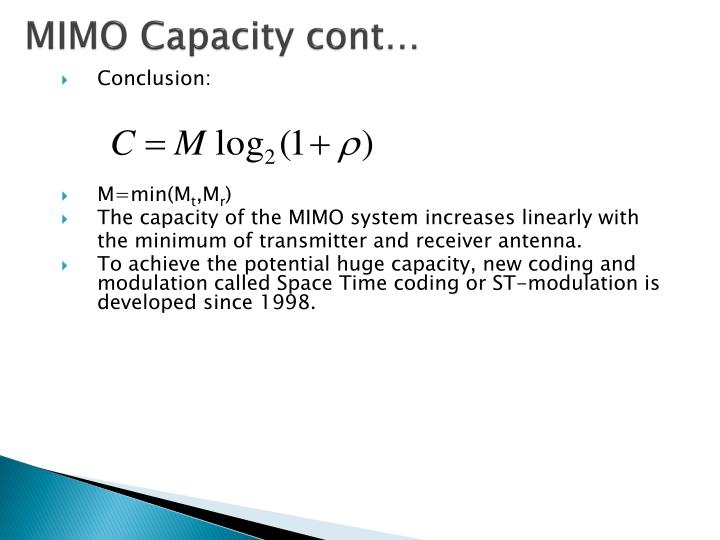 MIMO Capacity cont…