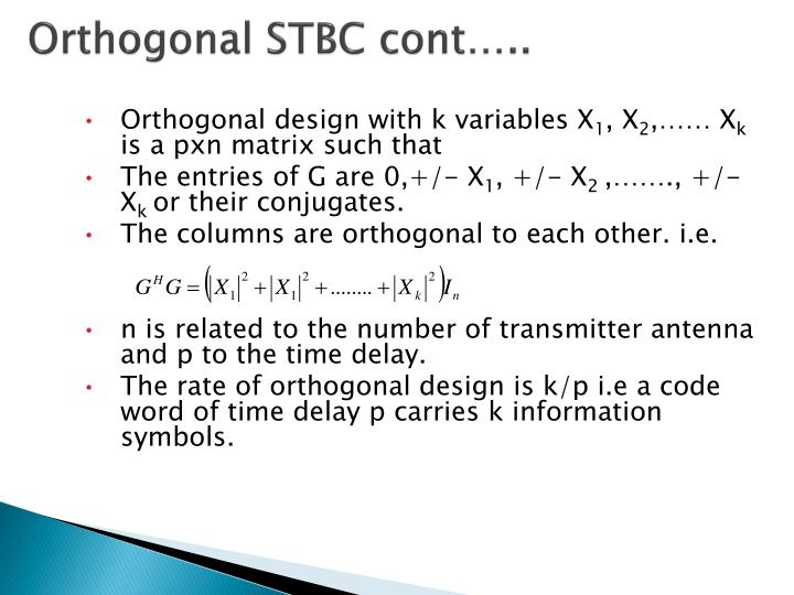 Orthogonal STBC cont…..