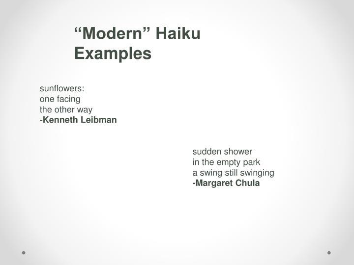 """""""Modern"""" Haiku Examples"""
