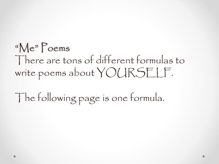 """Me"" Poems"