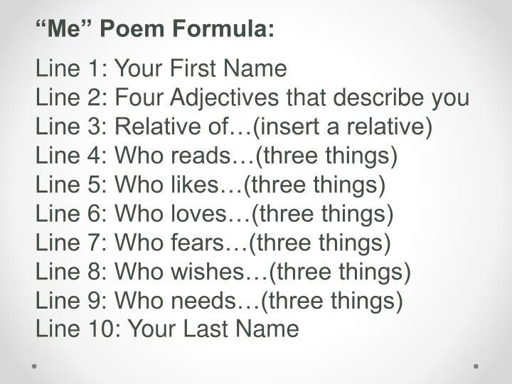 """""""Me"""" Poem Formula:"""