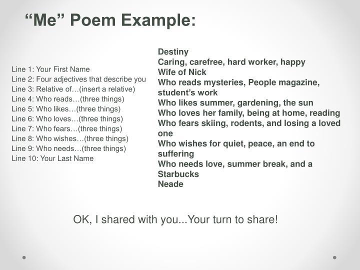 """""""Me"""" Poem Example:"""
