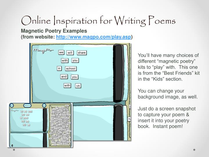 Online Inspiration for Writing Poems