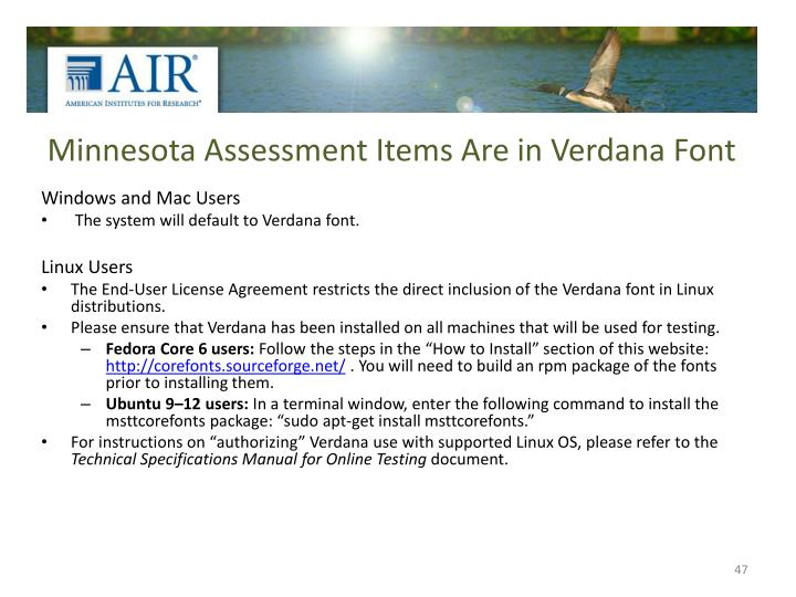 Minnesota Assessment Items Are in Verdana Font