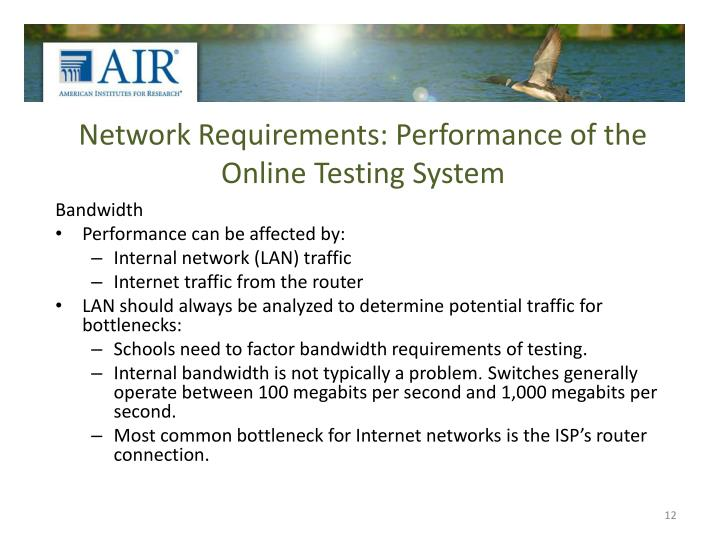 Network Requirements: Performance of the Online Testing System