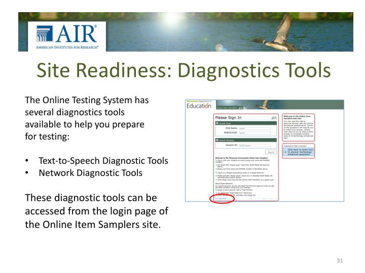 Site Readiness: Diagnostics Tools