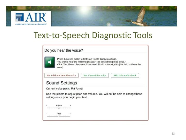 Text-to-Speech Diagnostic Tools