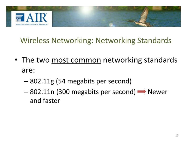 Wireless Networking: Networking Standards