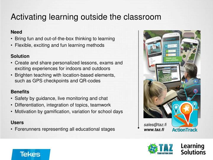 Activating learning outside the classroom