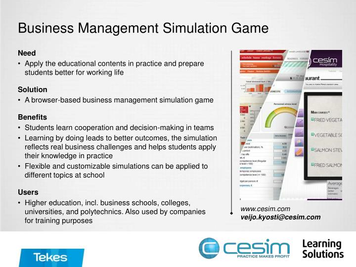 Business Management Simulation Game