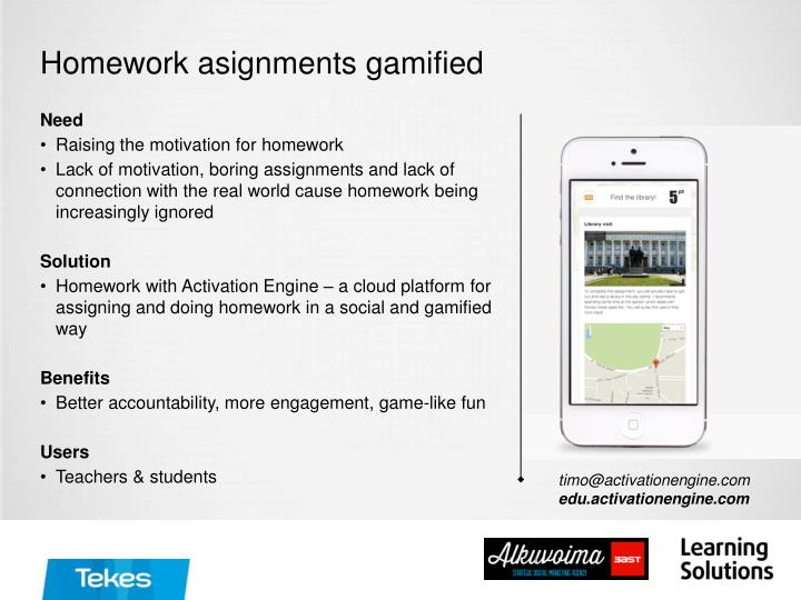 Homework asignments gamified