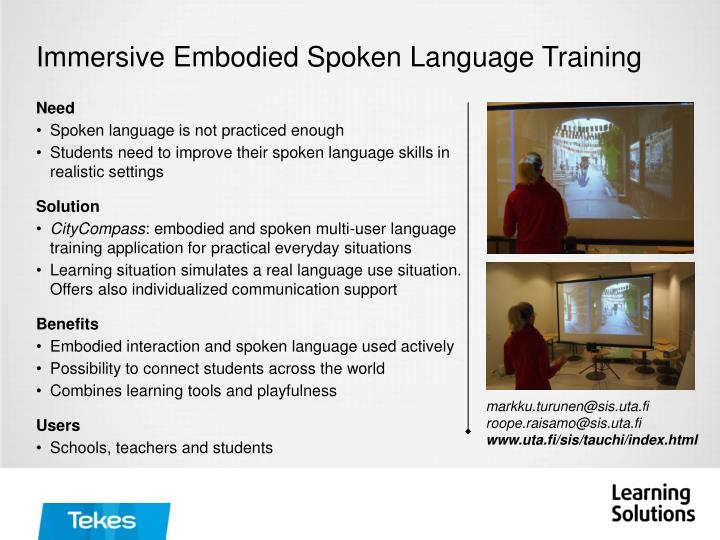Immersive Embodied Spoken Language Training