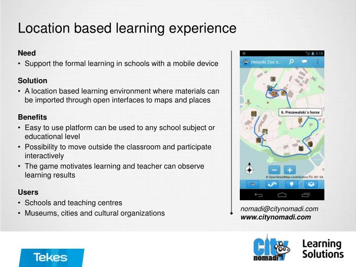 Location based learning experience