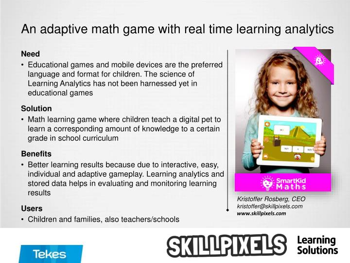 An adaptive math game with real time learning analytics