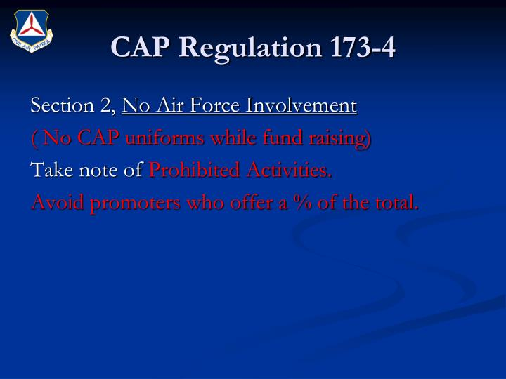 CAP Regulation 173-4