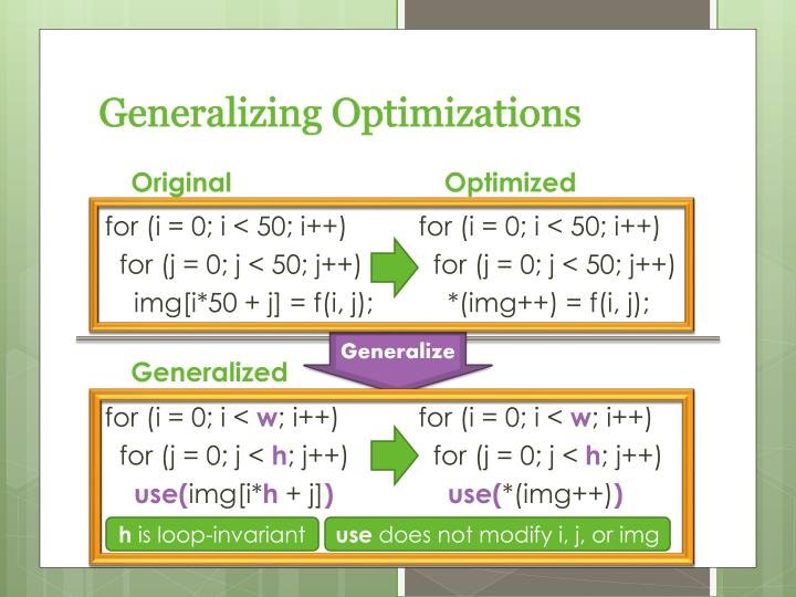 Generalizing optimizations
