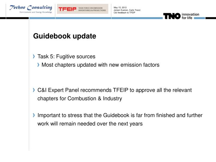 Jeroen Kuenen, Carlo TrozziC&I feedback to TFEIP