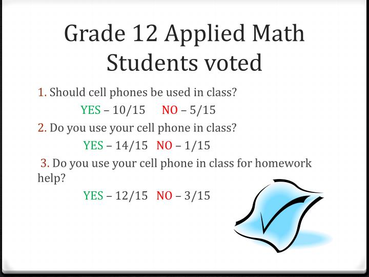 Grade 12 Applied Math Students voted