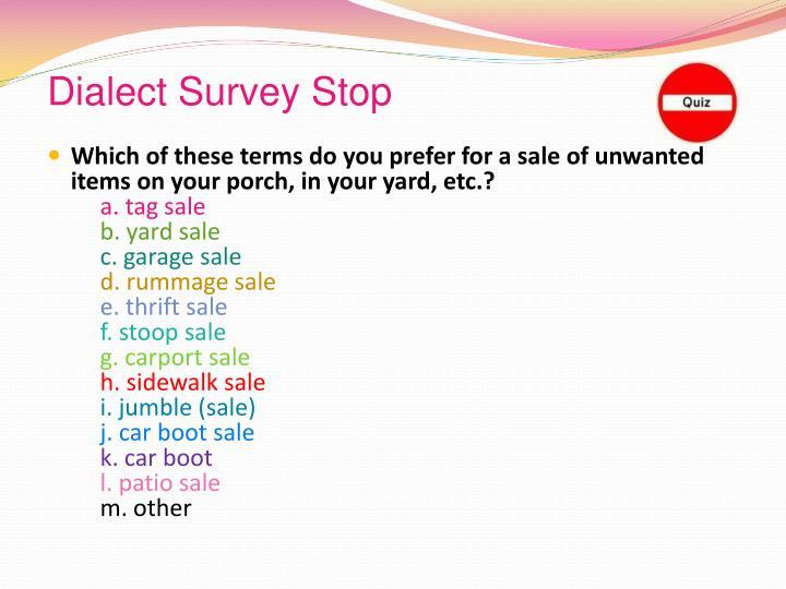 Dialect Survey Stop