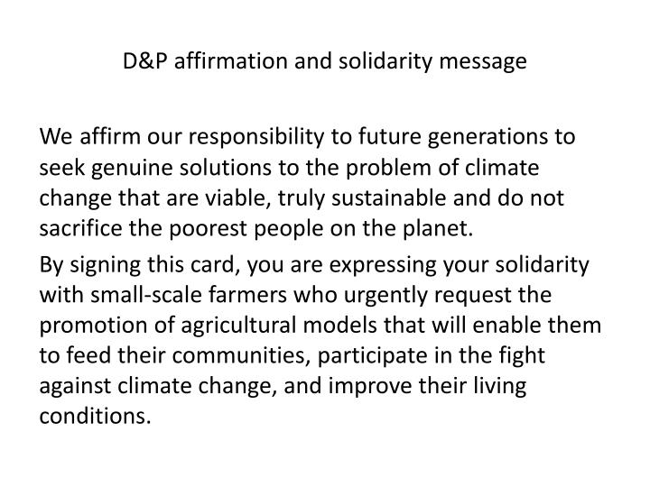 D&P affirmation and solidarity message