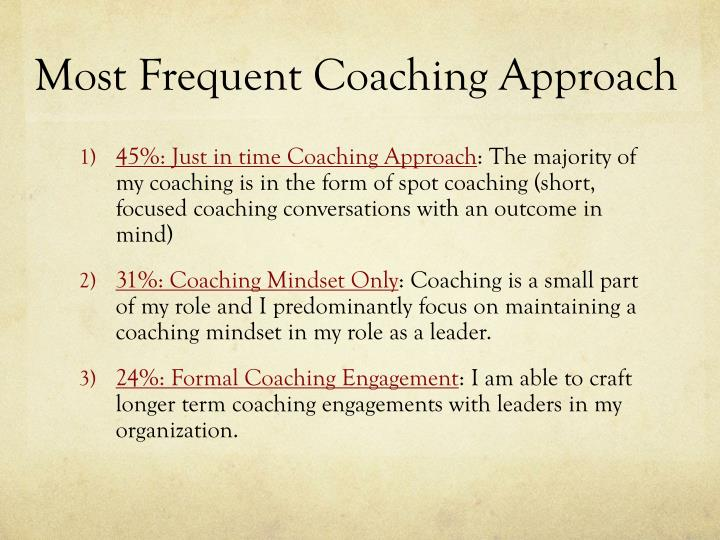 Most Frequent Coaching Approach