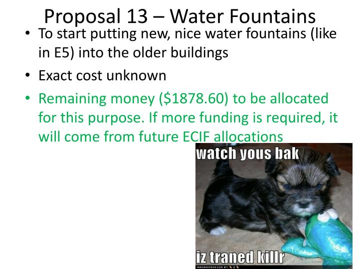 Proposal 13 – Water Fountains
