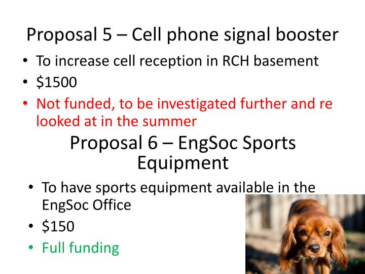 Proposal 5 – Cell phone signal booster