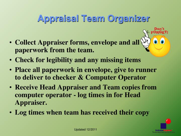 Appraisal Team Organizer