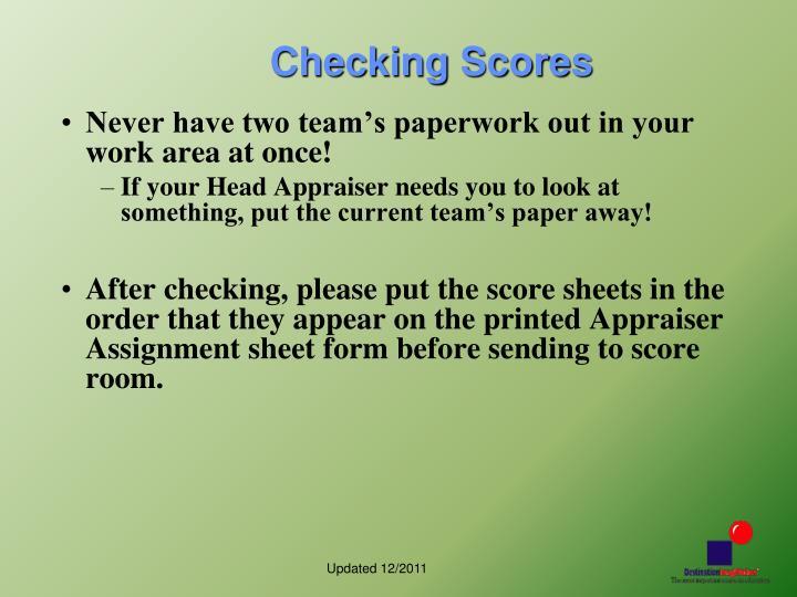 Checking Scores