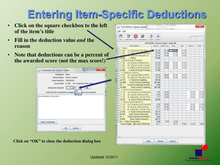 Entering Item-Specific Deductions