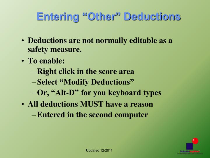 "Entering ""Other"" Deductions"