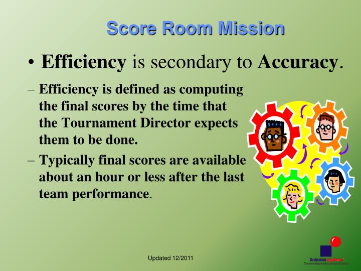 Efficiency is defined as computing the final scores by the time that the Tournament Director expects them to be done.