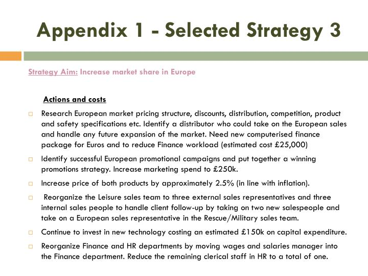 Appendix 1 - Selected Strategy 3