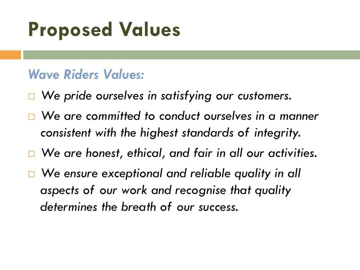 Proposed Values