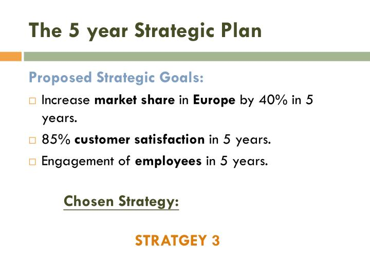 The 5 year Strategic Plan