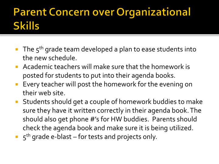 Parent Concern over Organizational Skills