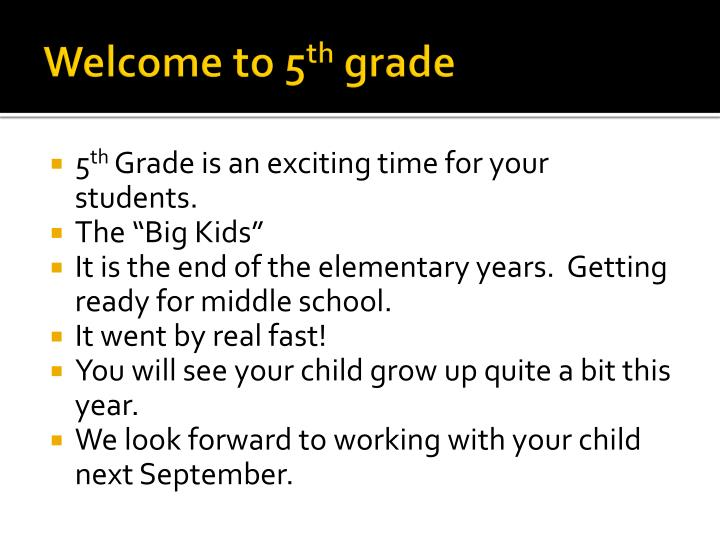 Welcome to 5